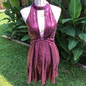 Free People Dresses - Free People Film Noir Sequin Mini Dress Plum sz 8.